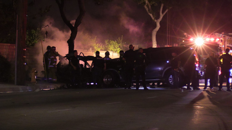 Garden Grove Scene of Fiery Car Crash, 24-Year-Old Woman